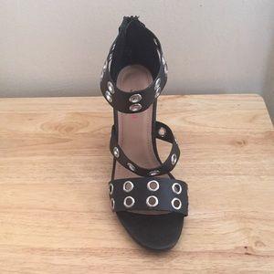 JustFab Shoes - Black Grommet Wedge Sandal